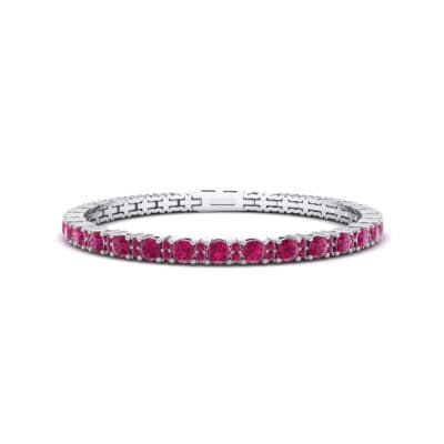 Thin Brilliant Round Ruby Tennis Bracelet (2.1 Carat)