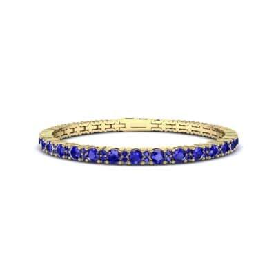 Thin Brilliant Round Blue Sapphire Tennis Bracelet (2.1 CTW) Perspective View