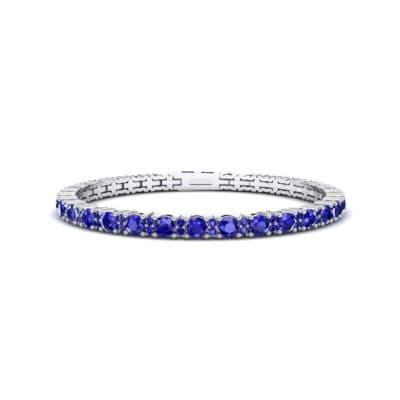 Thin Brilliant Round Blue Sapphire Tennis Bracelet (2.1 Carat)