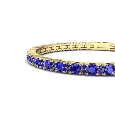 Thin Brilliant Round Blue Sapphire Tennis Bracelet (2.1 CTW) Top Dynamic View