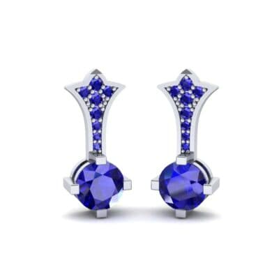 Crest Blue Sapphire Drop Earrings (0.59 CTW) Perspective View