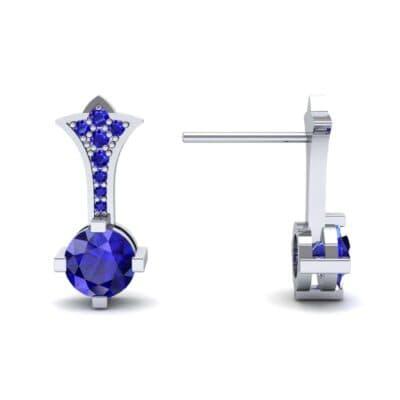 Crest Blue Sapphire Drop Earrings (0.59 CTW) Top Dynamic View