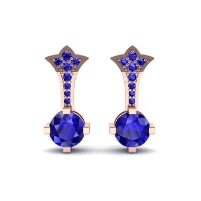Crest Blue Sapphire Drop Earrings (0.59 CTW) Side View