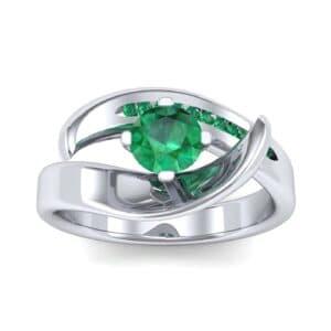Dancer Emerald Bypass Engagement Ring (0.59 Carat)