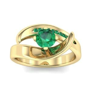 Dancer Emerald Bypass Engagement Ring (0.59 Carat)