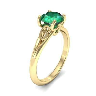 Curl Split Shank Solitaire Emerald Engagement Ring (0.64 Carat)