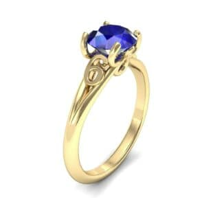 Curl Split Shank Solitaire Blue Sapphire Engagement Ring (0.64 Carat)
