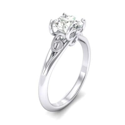 Curl Split Shank Solitaire Diamond Engagement Ring (0.46 Carat)