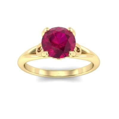 Curl Split Shank Solitaire Ruby Engagement Ring (0.64 Carat)