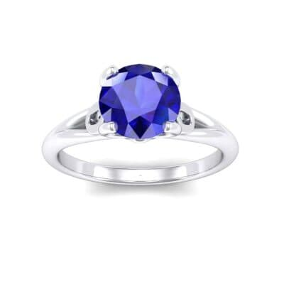 Curl Split Shank Solitaire Blue Sapphire Engagement Ring (0.64 Carat)