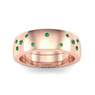 Wide Stellar Embedded Emerald Ring (0.17 Carat)