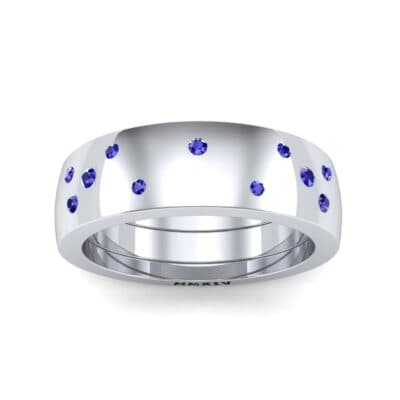 Wide Stellar Embedded Blue Sapphire Ring (0.17 Carat)
