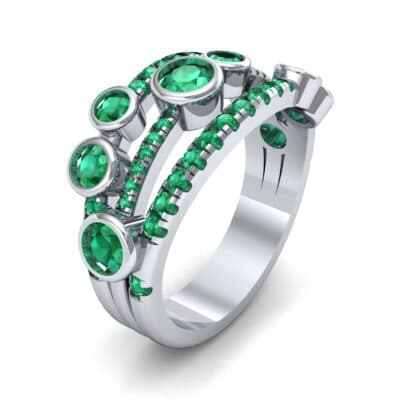 Triple Band Seven-Stone Emerald Ring (2.34 CTW)