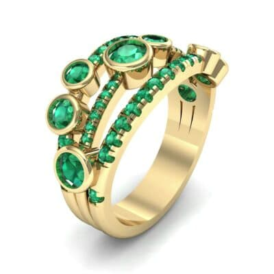 Triple Band Seven-Stone Emerald Ring (1.71 Carat)