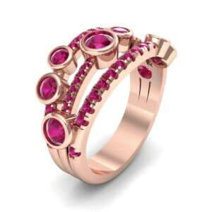 Triple Band Seven-Stone Ruby Ring (1.71 Carat)
