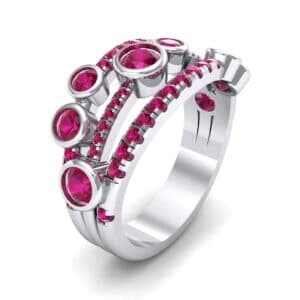 Triple Band Seven-Stone Ruby Ring (1.71 Carat)