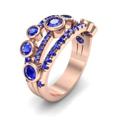 Triple Band Seven-Stone Blue Sapphire Ring (2.34 CTW)