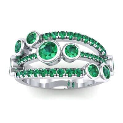 Triple Band Seven-Stone Emerald Ring (1.71 Carat)