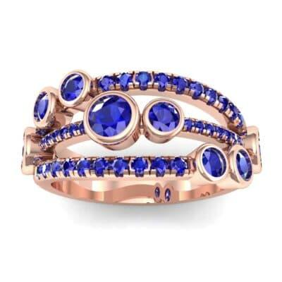 Triple Band Seven-Stone Blue Sapphire Ring (1.71 Carat)
