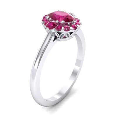 Plain Shank Oval Halo Ruby Engagement Ring (1.05 Carat)