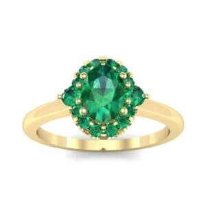 Plain Shank Oval Halo Emerald Engagement Ring (1.05 Carat)
