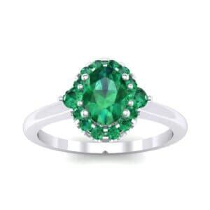 Plain Shank Oval Halo Emerald Engagement Ring (1.05 Carat)