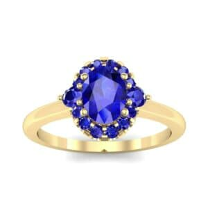 Plain Shank Oval Halo Blue Sapphire Engagement Ring (1.05 Carat)