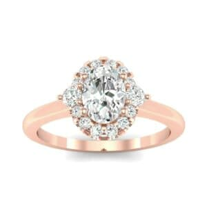 Plain Shank Oval Halo Diamond Engagement Ring (1.05 Carat)