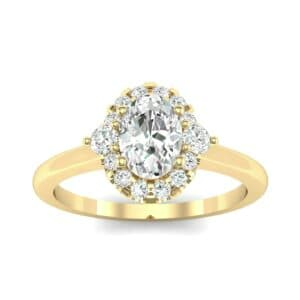 Plain Shank Oval Halo Diamond Engagement Ring (1.05 Carat)