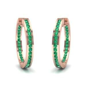 Medium Pave Emerald Hoop Earrings (1.86 Carat)