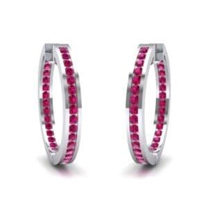 Medium Pave Ruby Hoop Earrings (1.86 Carat)