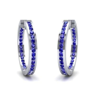 Medium Pave Blue Sapphire Hoop Earrings (1.86 Carat)