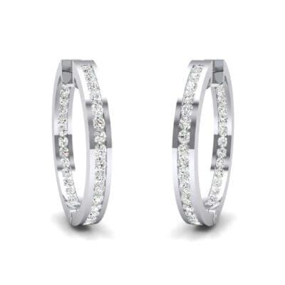 Medium Pave Diamond Hoop Earrings (1.24 Carat)