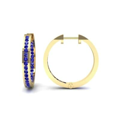 Medium Pave Blue Sapphire Hoop Earrings (1.86 CTW) Top Dynamic View