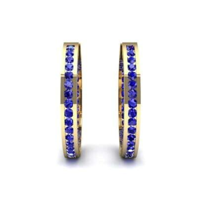 Medium Pave Blue Sapphire Hoop Earrings (1.86 CTW) Side View