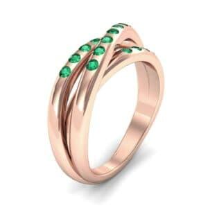 Rolling Triple Band Emerald Ring (0.3 Carat)