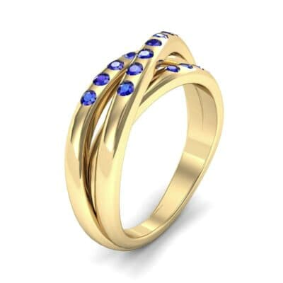 Rolling Triple Band Blue Sapphire Ring (0.3 Carat)
