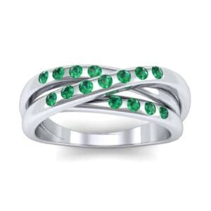 Rolling Triple Band Emerald Ring (0.3 Carat)