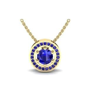 Floating Round Halo Blue Sapphire Pendant (0.82 Carat)