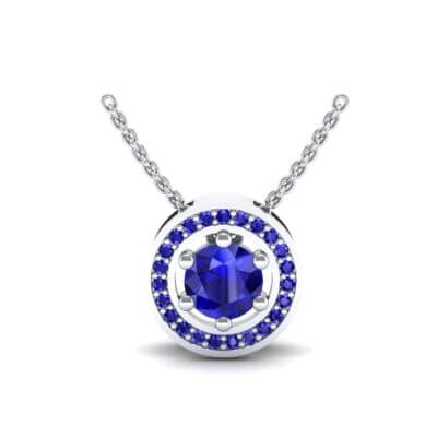 Floating Round Halo Blue Sapphire Pendant (0.82 Carat)