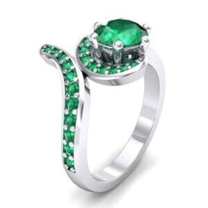 Asymmetrical  Emerald Bypass Engagement Ring (0.83 Carat)