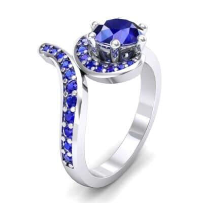 Asymmetrical  Blue Sapphire Bypass Engagement Ring (0.83 Carat)