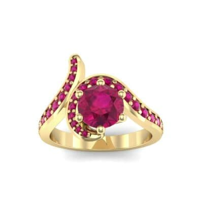 Asymmetrical  Ruby Bypass Engagement Ring (0.83 Carat)