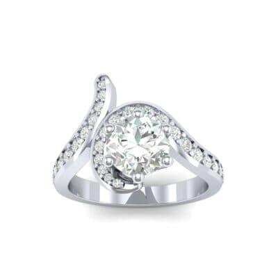 Asymmetrical  Diamond Bypass Engagement Ring (0.83 Carat)
