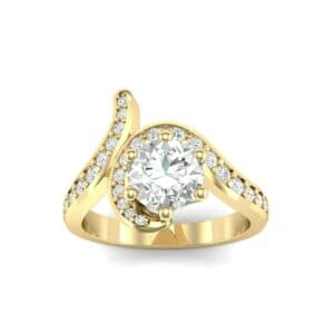 Asymmetrical  Diamond Bypass Engagement Ring (0.83 Carat)