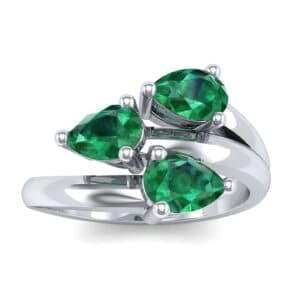 Open Band Pear-Shape  Emerald Ring (1.08 Carat)