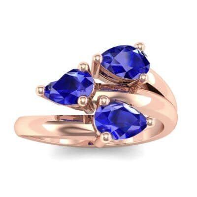 Open Band Pear-Shape  Blue Sapphire Ring (1.08 Carat)
