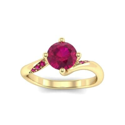 Contoured  Ruby Bypass Engagement Ring (0.78 Carat)