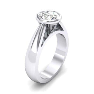 Tapered Bezel-Set Solitaire Diamond Engagement Ring (0.66 Carat)