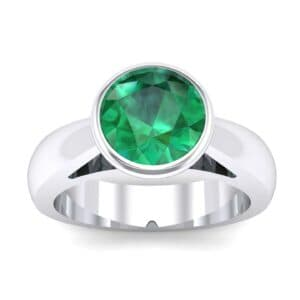 Tapered Bezel-Set Solitaire Emerald Engagement Ring (0.95 Carat)